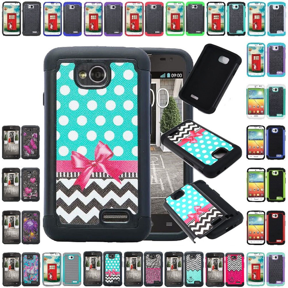 new product a04db 6804c Details about For LG Ultimate 2 L41C / L70 Shockproof Hybrid Hard Grid  Armor Case Phone Cover